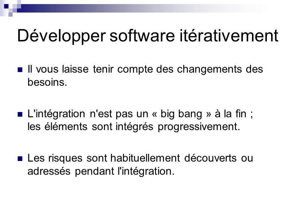 Développer software itérativement Il vous laisse tenir compte des changements des besoins. L'intégration n'est pas un « big bang » à la fin ; les élém