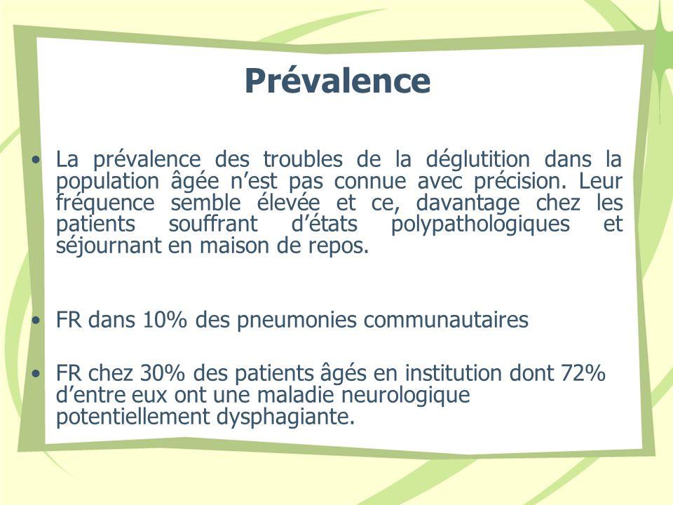 Prévalence La prévalence des troubles de la déglutition dans la population âgée nest pas connue avec précision. Leur fréquence semble élevée et ce, da