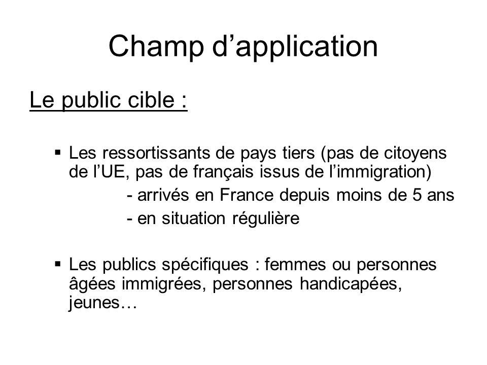 Champ dapplication Le public cible : Les ressortissants de pays tiers (pas de citoyens de lUE, pas de français issus de limmigration) - arrivés en Fra