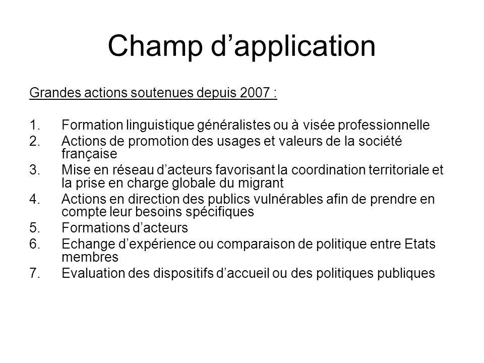 Champ dapplication Grandes actions soutenues depuis 2007 : 1.Formation linguistique généralistes ou à visée professionnelle 2.Actions de promotion des
