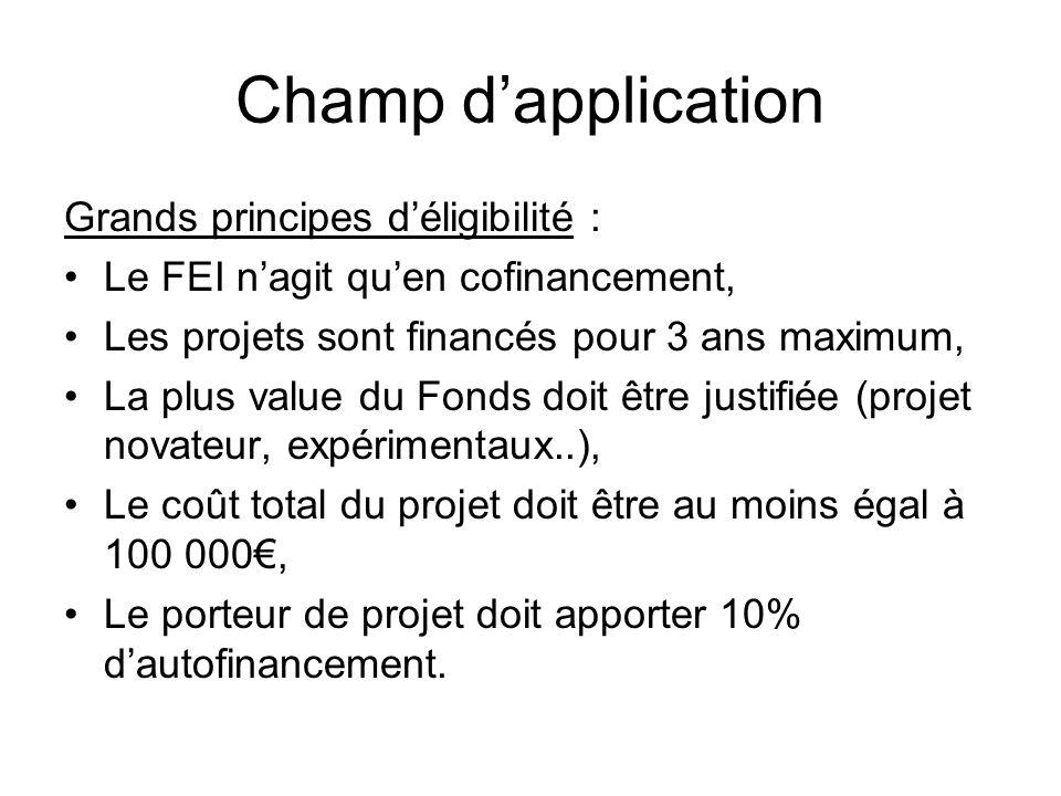 Champ dapplication Grands principes déligibilité : Le FEI nagit quen cofinancement, Les projets sont financés pour 3 ans maximum, La plus value du Fon