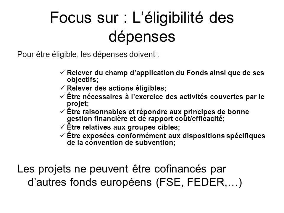 Focus sur : Léligibilité des dépenses Pour être éligible, les dépenses doivent : Relever du champ dapplication du Fonds ainsi que de ses objectifs; Re
