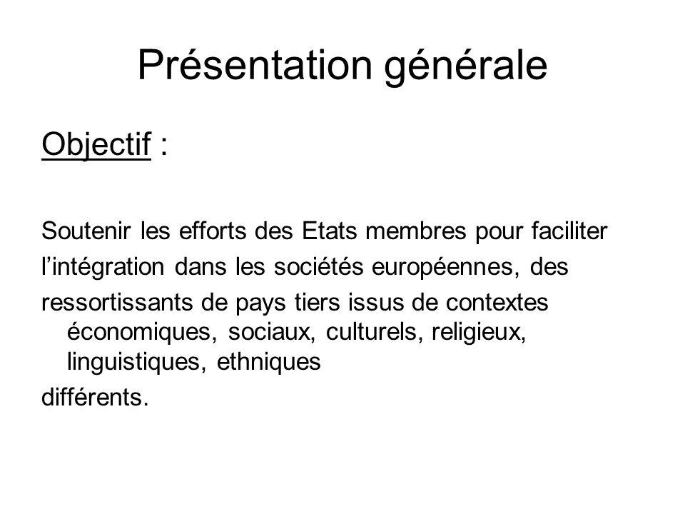 Présentation générale Objectif : Soutenir les efforts des Etats membres pour faciliter lintégration dans les sociétés européennes, des ressortissants
