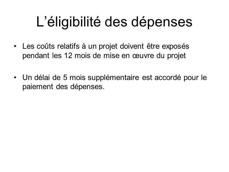 Léligibilité des dépenses Les coûts relatifs à un projet doivent être exposés pendant les 12 mois de mise en œuvre du projet Un délai de 5 mois supplé
