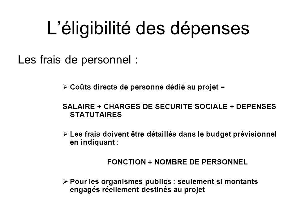 Léligibilité des dépenses Les frais de personnel : Coûts directs de personne dédié au projet = SALAIRE + CHARGES DE SECURITE SOCIALE + DEPENSES STATUT