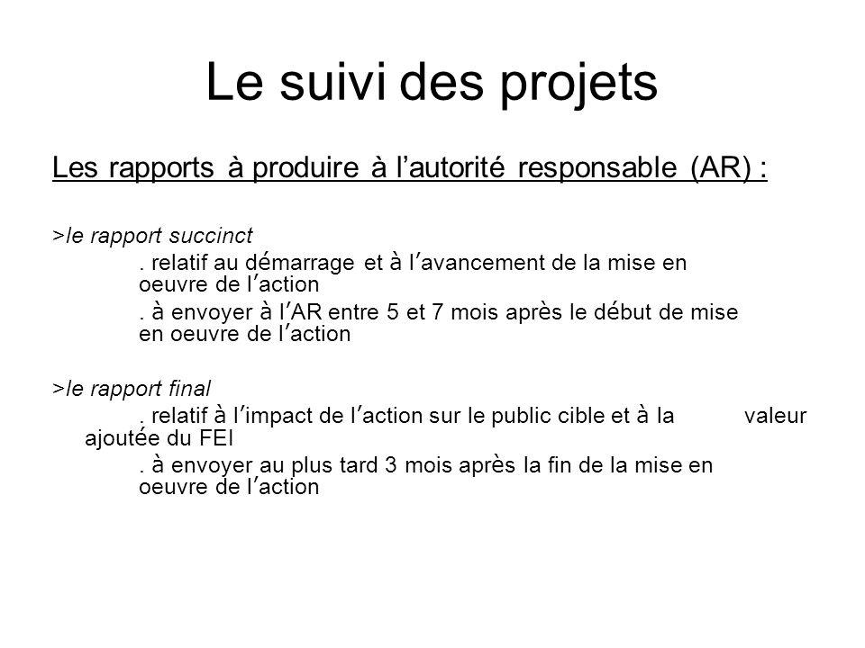 Le suivi des projets Les rapports à produire à lautorité responsable (AR) : >le rapport succinct. relatif au d é marrage et à l avancement de la mise