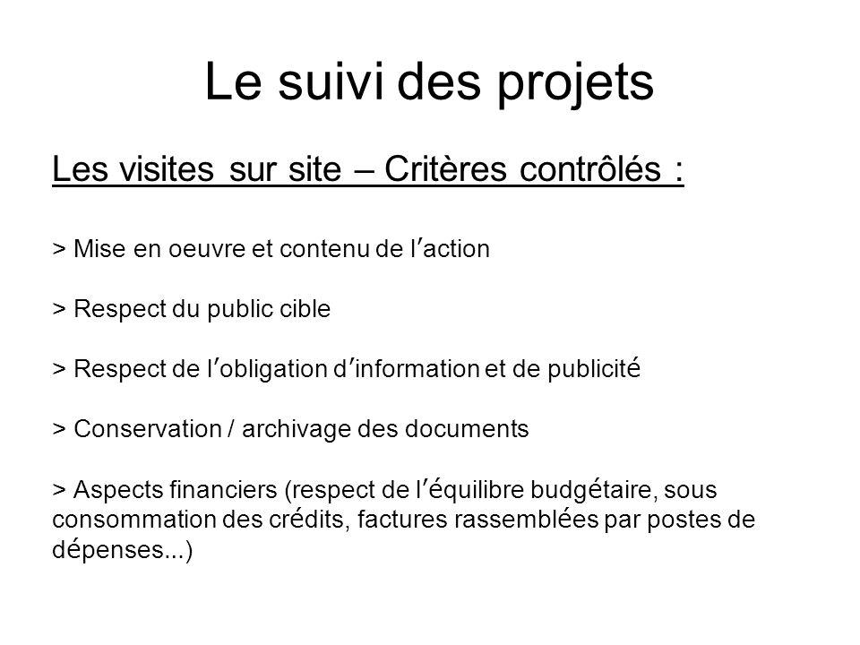 Le suivi des projets Les visites sur site – Critères contrôlés : > Mise en oeuvre et contenu de l action > Respect du public cible > Respect de l obli