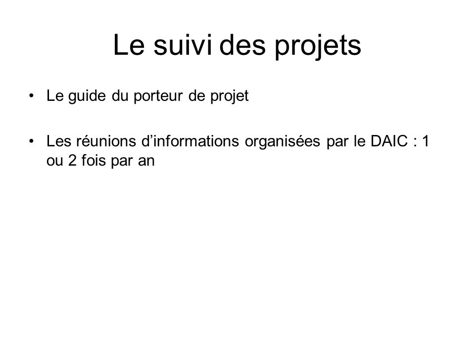 Le suivi des projets Le guide du porteur de projet Les réunions dinformations organisées par le DAIC : 1 ou 2 fois par an