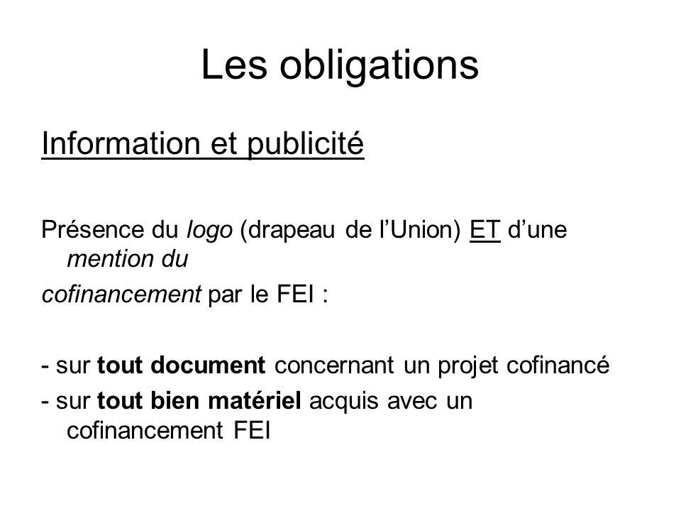 Les obligations Information et publicité Présence du logo (drapeau de lUnion) ET dune mention du cofinancement par le FEI : - sur tout document concer