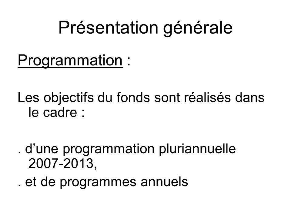 Présentation générale Programmation : Les objectifs du fonds sont réalisés dans le cadre :. dune programmation pluriannuelle 2007-2013,. et de program