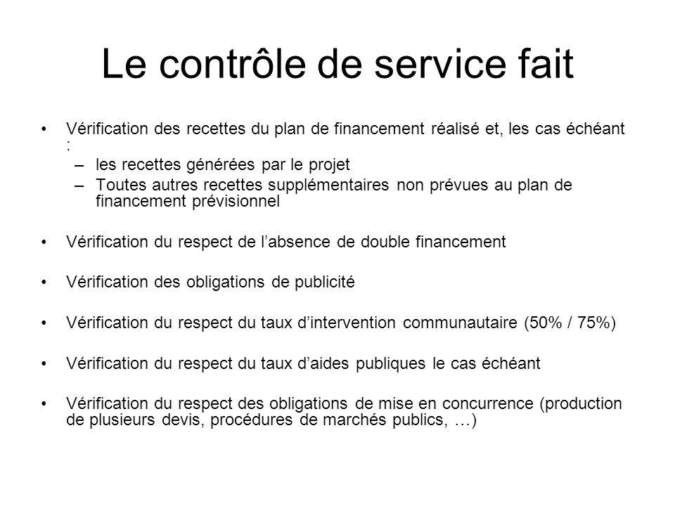 Le contrôle de service fait Vérification des recettes du plan de financement réalisé et, les cas échéant : –les recettes générées par le projet –Toute
