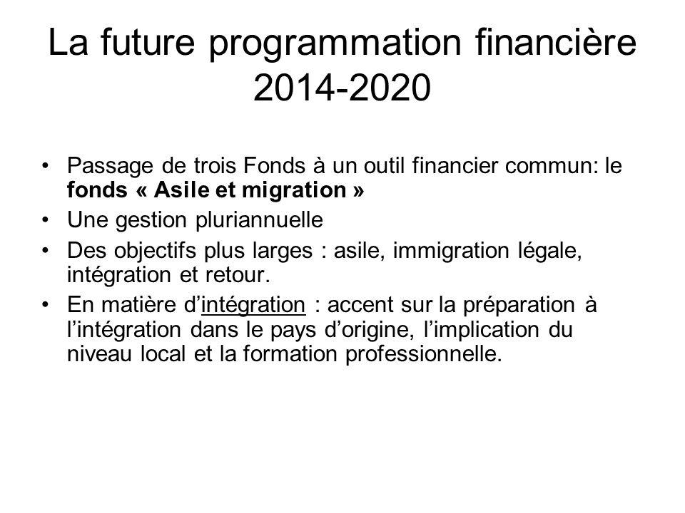 La future programmation financière 2014-2020 Passage de trois Fonds à un outil financier commun: le fonds « Asile et migration » Une gestion pluriannu