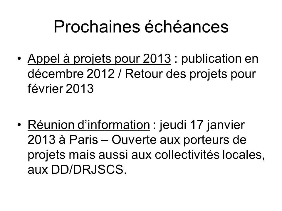 Prochaines échéances Appel à projets pour 2013 : publication en décembre 2012 / Retour des projets pour février 2013 Réunion dinformation : jeudi 17 j