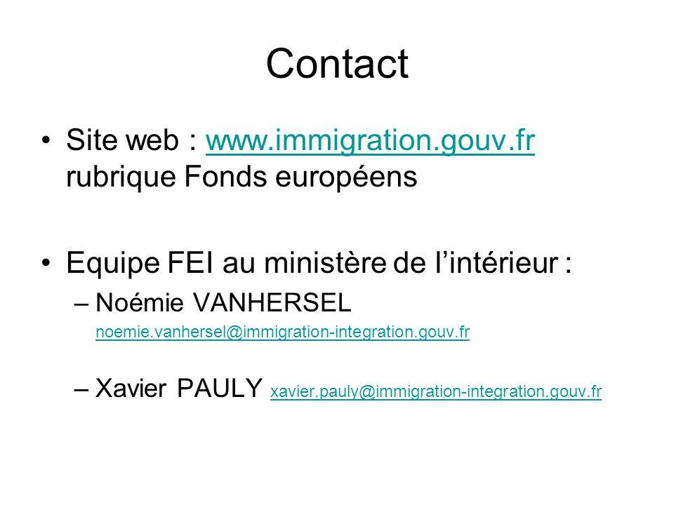 Contact Site web : www.immigration.gouv.fr rubrique Fonds européenswww.immigration.gouv.fr Equipe FEI au ministère de lintérieur : –Noémie VANHERSEL n