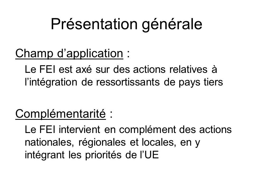 Présentation générale Champ dapplication : Le FEI est axé sur des actions relatives à lintégration de ressortissants de pays tiers Complémentarité : L