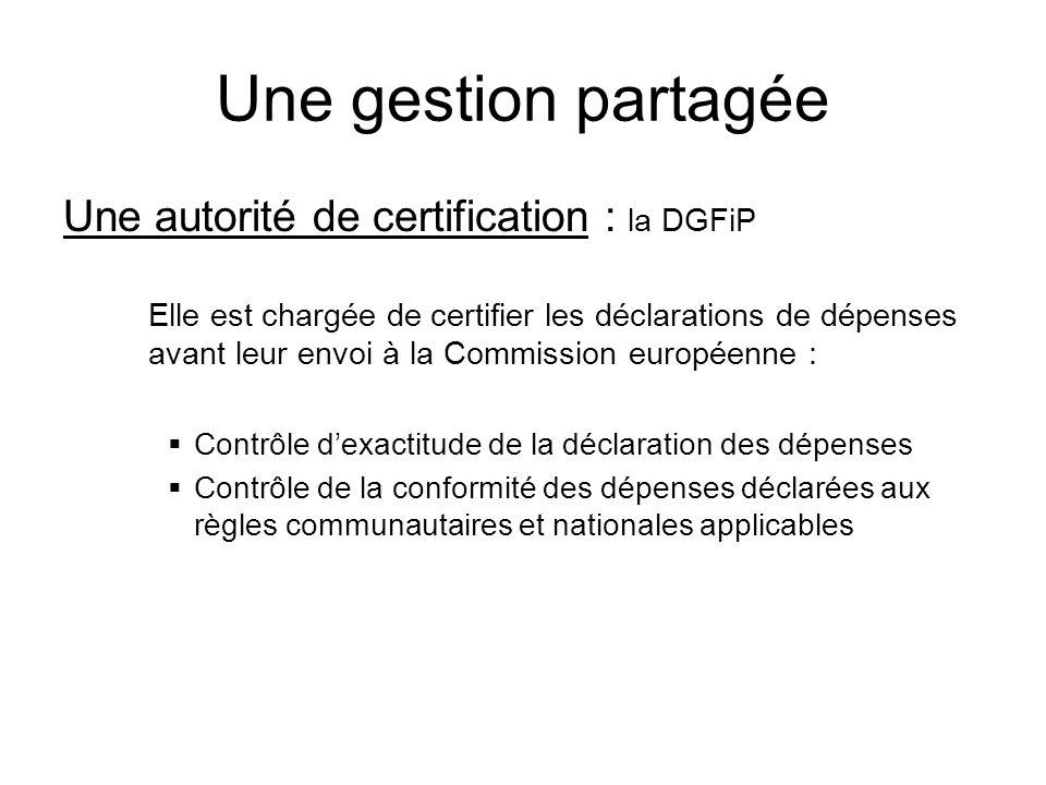 Une gestion partagée Une autorité de certification : la DGFiP Elle est chargée de certifier les déclarations de dépenses avant leur envoi à la Commiss