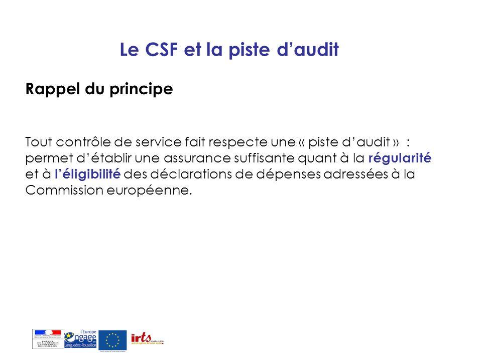 Le CSF et la piste daudit Rappel du principe Tout contrôle de service fait respecte une « piste daudit » : permet détablir une assurance suffisante qu