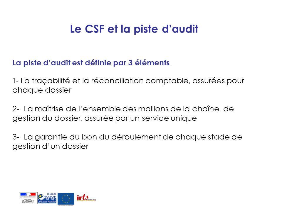 Le CSF et la piste daudit La piste daudit est définie par 3 éléments 1- La traçabilité et la réconciliation comptable, assurées pour chaque dossier 2-