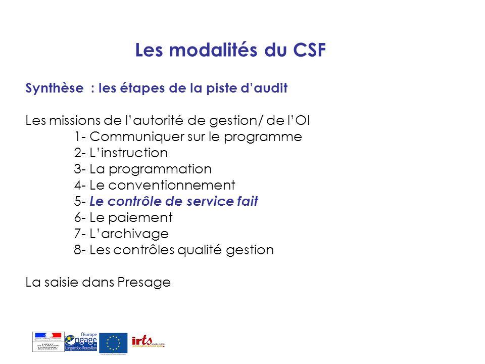 Les modalités du CSF Synthèse : les étapes de la piste daudit Les missions de lautorité de gestion/ de lOI 1- Communiquer sur le programme 2- Linstruc
