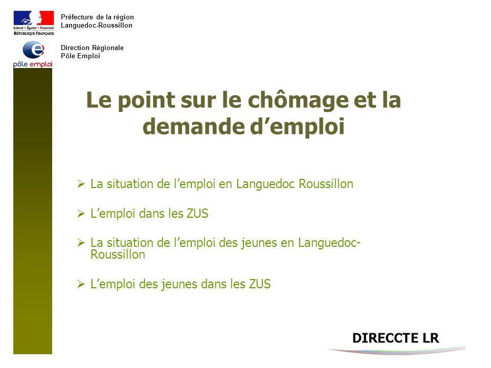 Préfecture de la région Languedoc-Roussillon Direction Régionale Pôle Emploi Le point sur le chômage et la demande demploi La situation de lemploi en Languedoc Roussillon Lemploi dans les ZUS La situation de lemploi des jeunes en Languedoc- Roussillon Lemploi des jeunes dans les ZUS