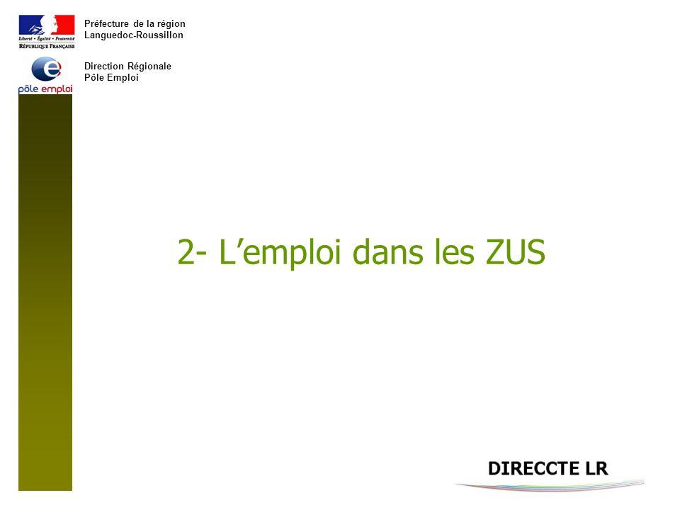 Préfecture de la région Languedoc-Roussillon Direction Régionale Pôle Emploi 2- Lemploi dans les ZUS