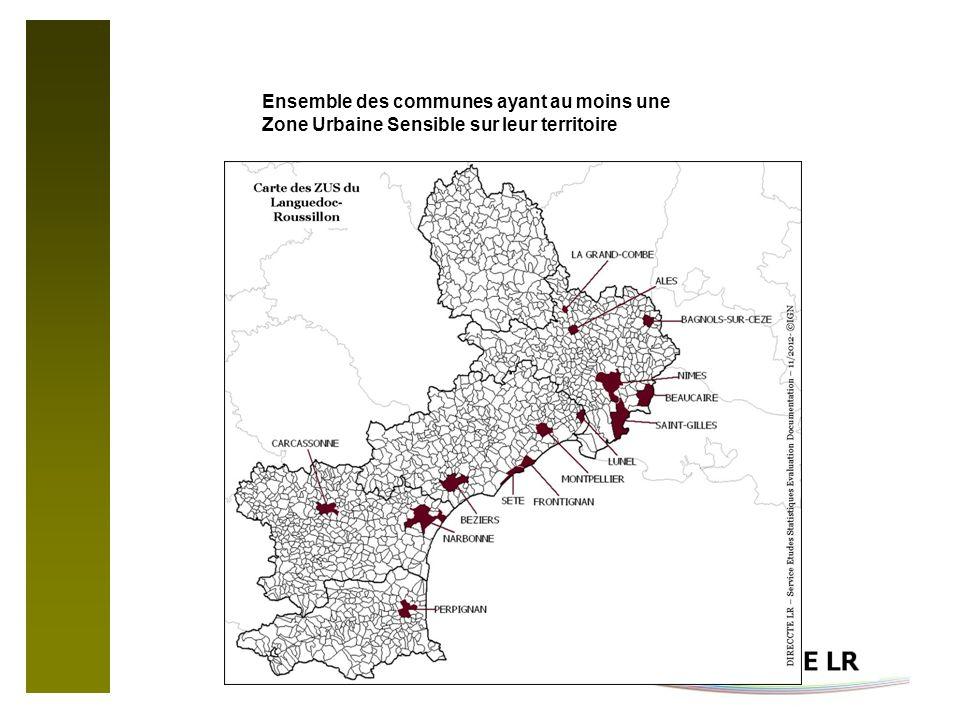 Ensemble des communes ayant au moins une Zone Urbaine Sensible sur leur territoire