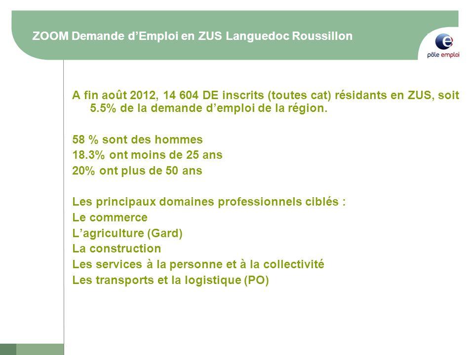 ZOOM Demande dEmploi en ZUS Languedoc Roussillon A fin août 2012, 14 604 DE inscrits (toutes cat) résidants en ZUS, soit 5.5% de la demande demploi de la région.