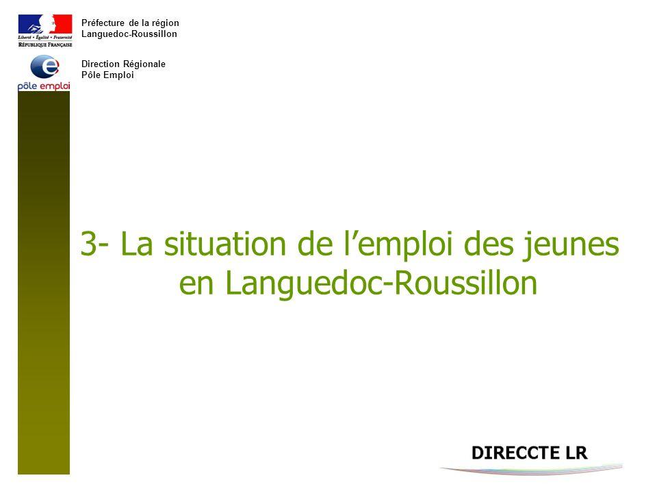 Préfecture de la région Languedoc-Roussillon Direction Régionale Pôle Emploi 3- La situation de lemploi des jeunes en Languedoc-Roussillon