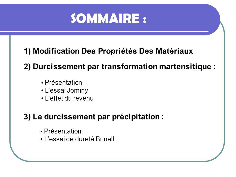 SOMMAIRE : 1) Modification Des Propriétés Des Matériaux Présentation Lessai de dureté Brinell 2) Durcissement par transformation martensitique : Prése