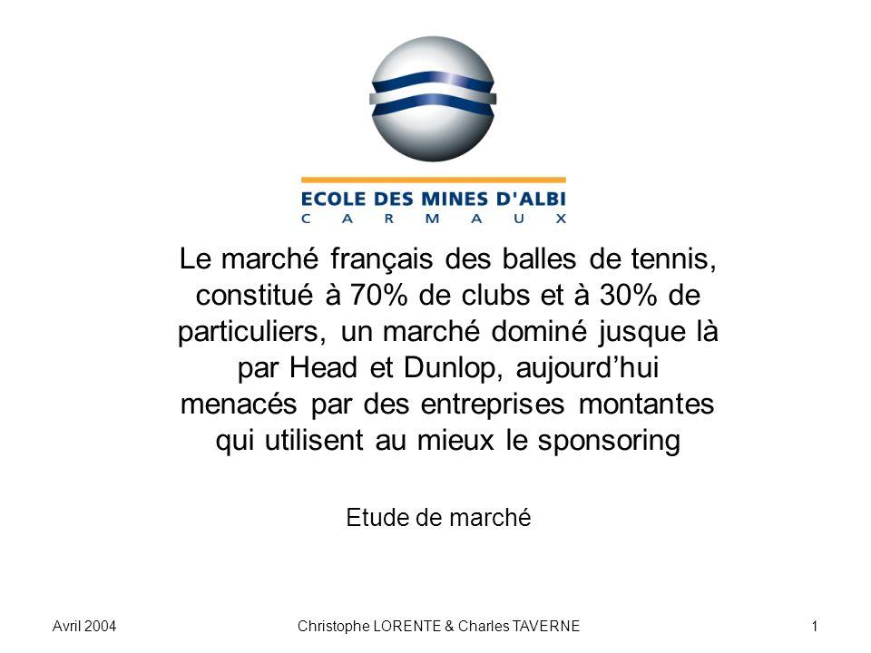 Avril 2004Christophe LORENTE & Charles TAVERNE1 Le marché français des balles de tennis, constitué à 70% de clubs et à 30% de particuliers, un marché