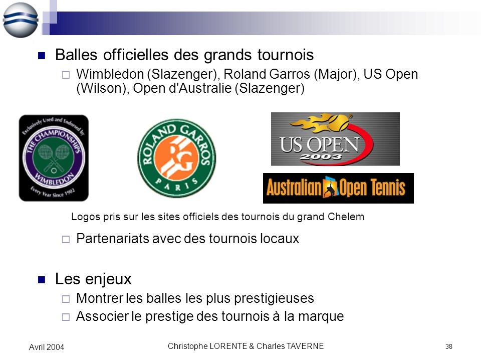 Christophe LORENTE & Charles TAVERNE 38 Avril 2004 Balles officielles des grands tournois Wimbledon (Slazenger), Roland Garros (Major), US Open (Wilso