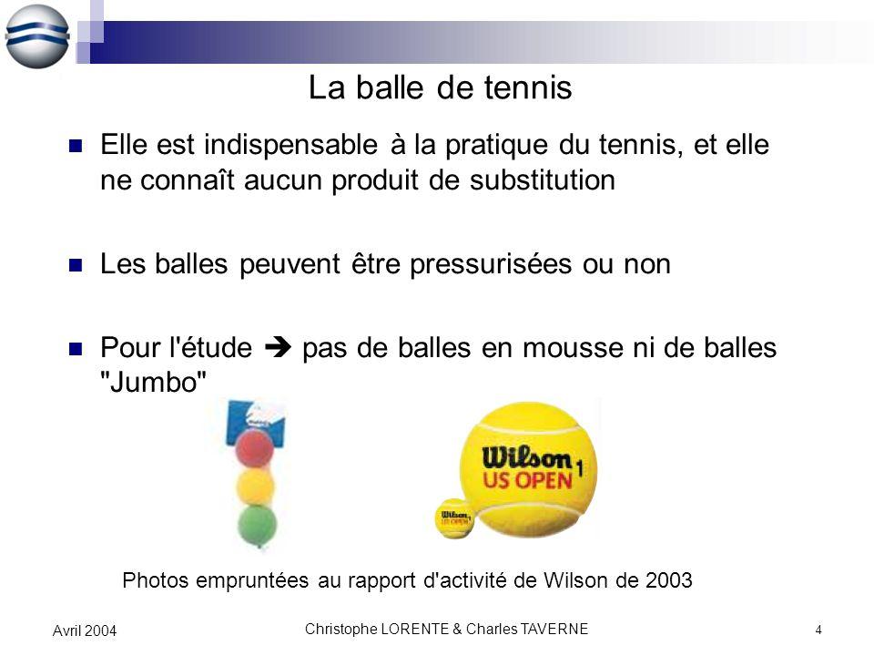 Christophe LORENTE & Charles TAVERNE 4 Avril 2004 La balle de tennis Elle est indispensable à la pratique du tennis, et elle ne connaît aucun produit