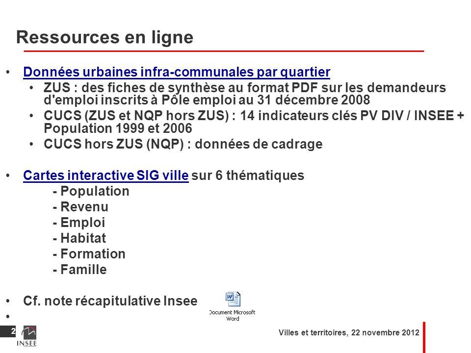 Ressources en ligne Données urbaines infra-communales par quartier ZUS : des fiches de synthèse au format PDF sur les demandeurs d'emploi inscrits à P
