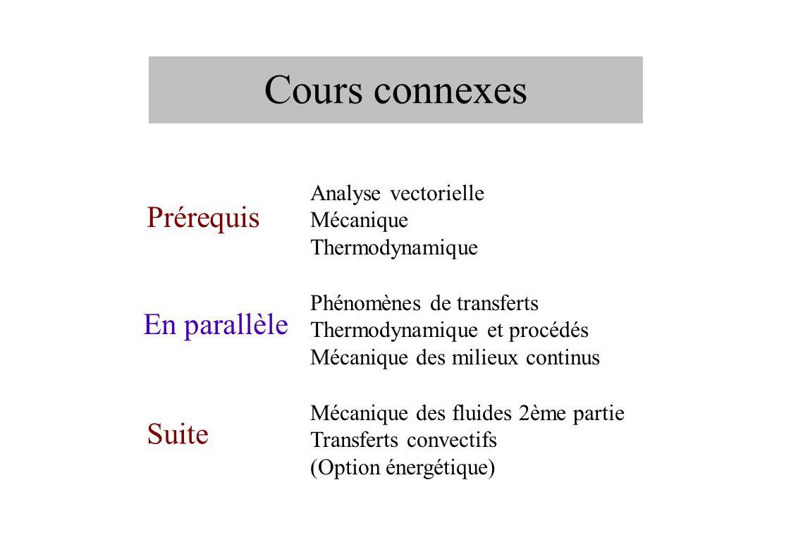 Cours connexes Prérequis Analyse vectorielle Mécanique Thermodynamique En parallèle Phénomènes de transferts Thermodynamique et procédés Mécanique des milieux continus Suite Mécanique des fluides 2ème partie Transferts convectifs (Option énergétique)