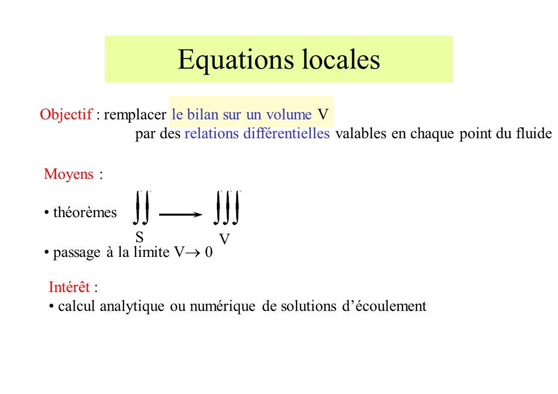 Equations locales Objectif : remplacer le bilan sur un volume V par des relations différentielles valables en chaque point du fluide Moyens : théorèmes passage à la limite V 0 S V Intérêt : calcul analytique ou numérique de solutions découlement