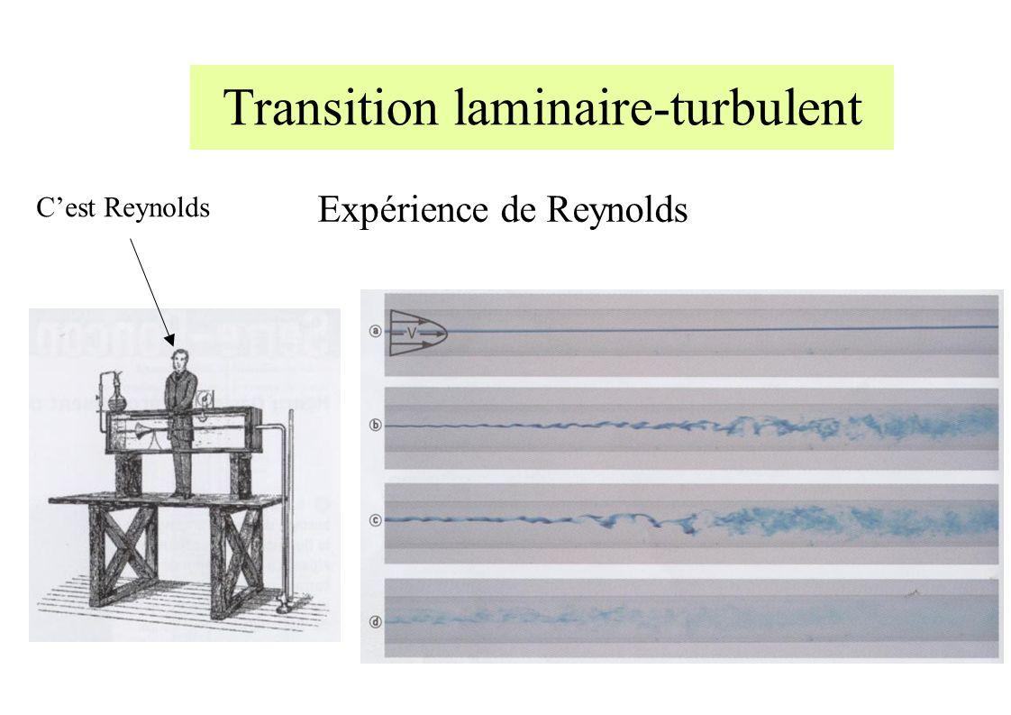 Transition laminaire-turbulent Expérience de Reynolds Cest Reynolds