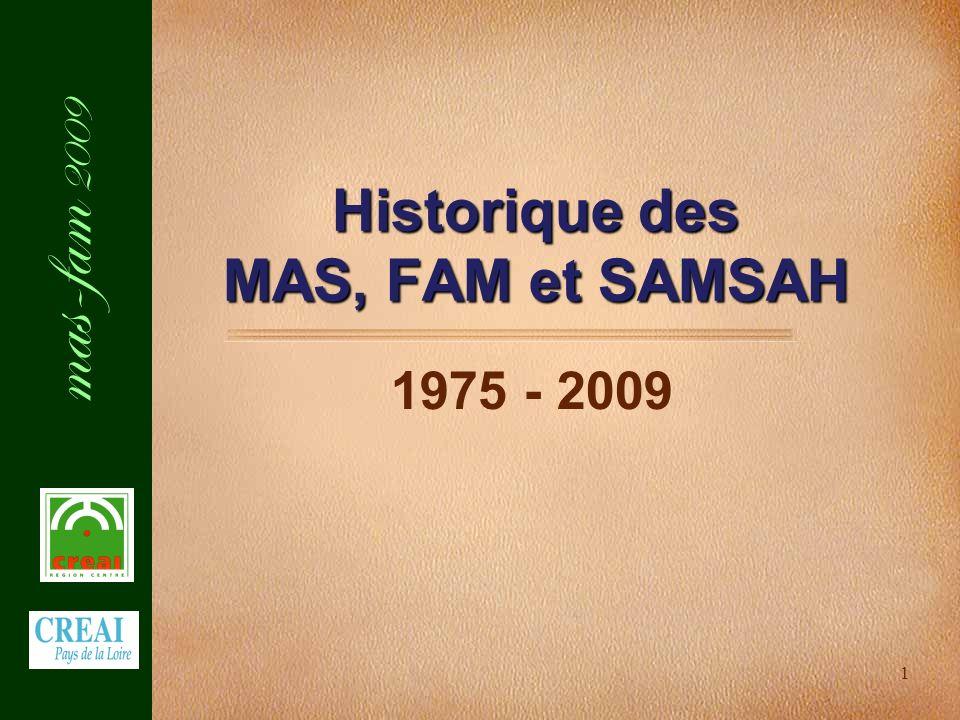 mas-fam 2009 1 Historique des MAS, FAM et SAMSAH 1975 - 2009