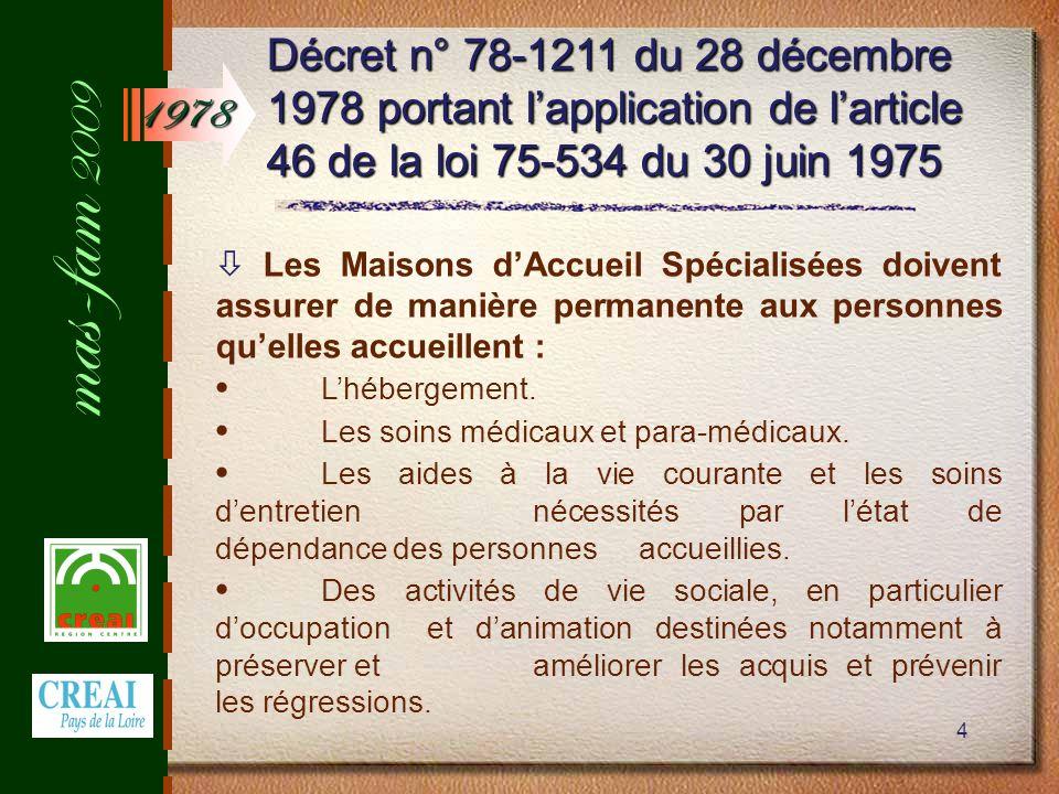 mas-fam 2009 4 Décret n° 78-1211 du 28 décembre 1978 portant lapplication de larticle 46 de la loi 75-534 du 30 juin 1975 Les Maisons dAccueil Spécialisées doivent assurer de manière permanente aux personnes quelles accueillent : Lhébergement.