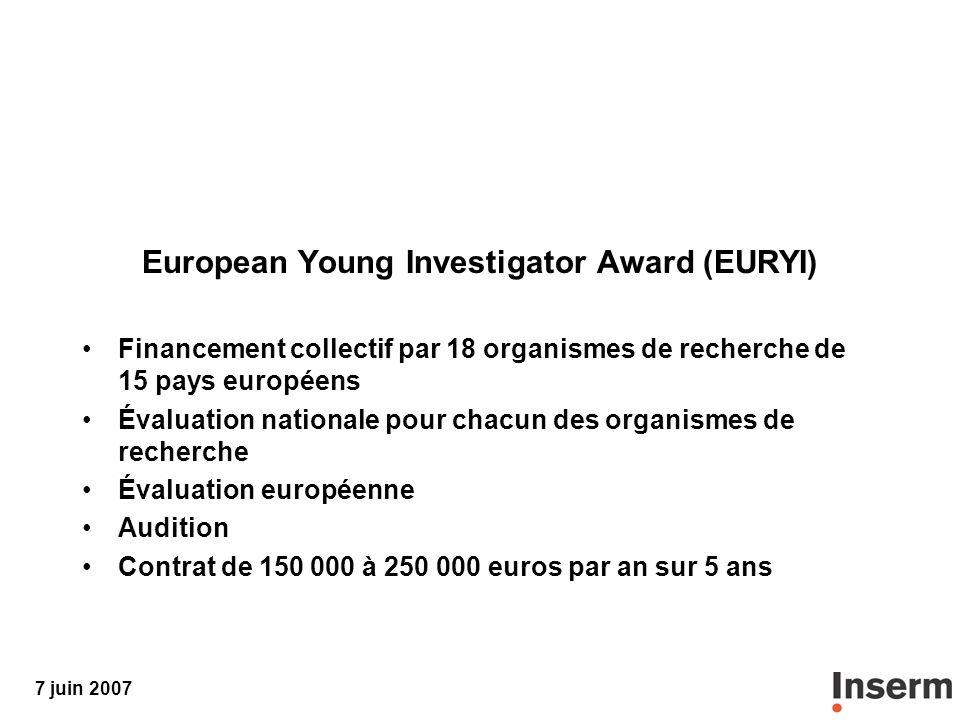 7 juin 2007 European Young Investigator Award (EURYI) Financement collectif par 18 organismes de recherche de 15 pays européens Évaluation nationale pour chacun des organismes de recherche Évaluation européenne Audition Contrat de 150 000 à 250 000 euros par an sur 5 ans
