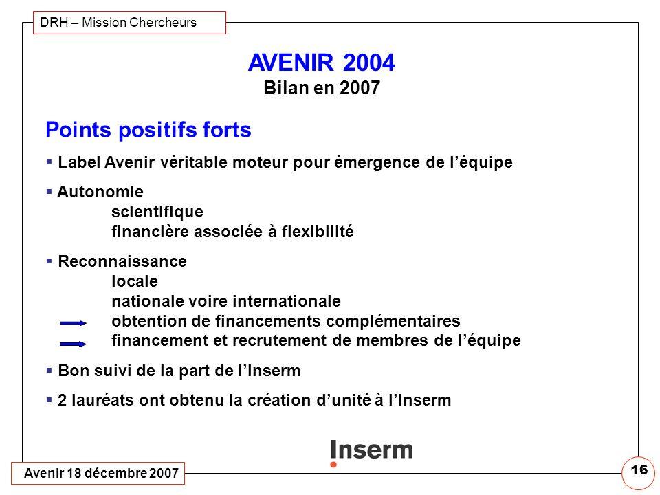 Avenir 18 décembre 2007 DRH – Mission Chercheurs 15 2007 Bilan des lauréats 2004