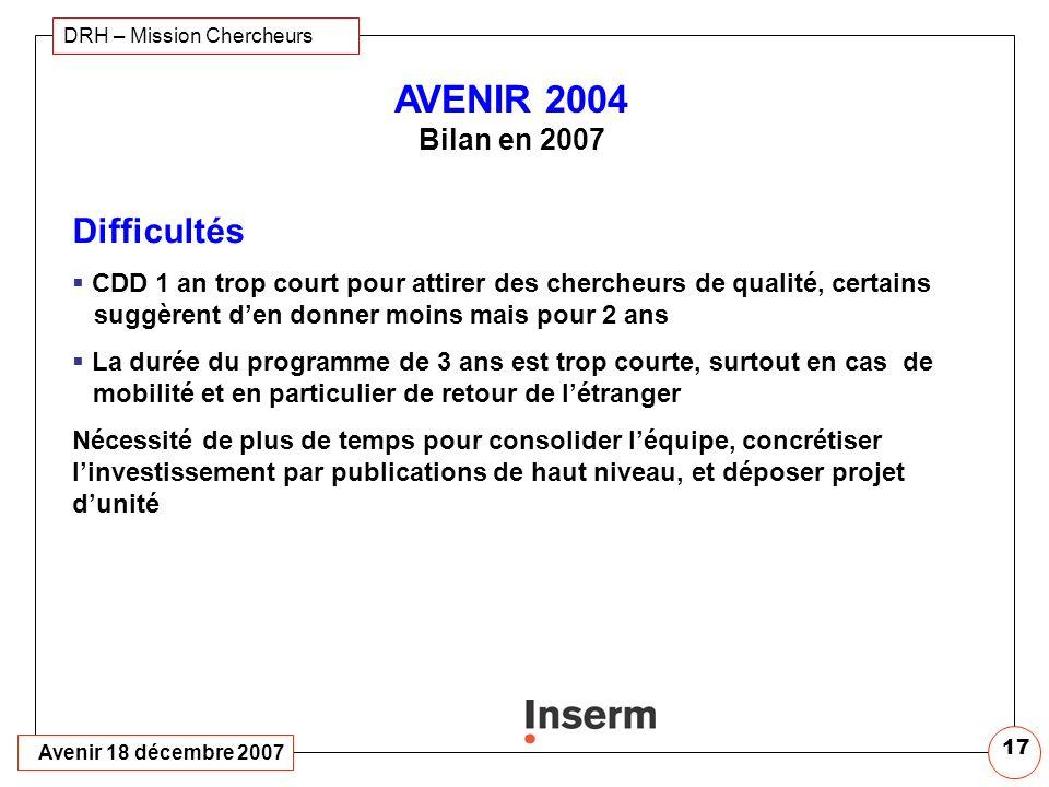 Avenir 18 décembre 2007 DRH – Mission Chercheurs 16 AVENIR 2004 Bilan en 2007 Points positifs forts Label Avenir véritable moteur pour émergence de lé