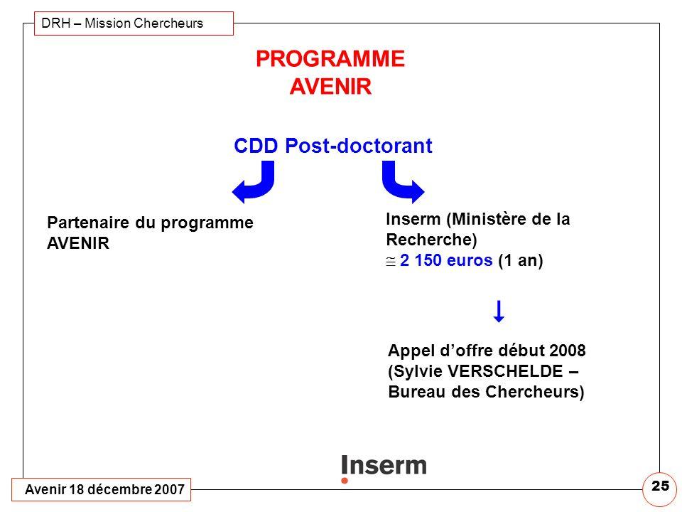 Avenir 18 décembre 2007 DRH – Mission Chercheurs 24 PROGRAMME AVENIR Doctorant Prioritaire pour allocation doctorale Inserm/Région Province (sauf Rhôn