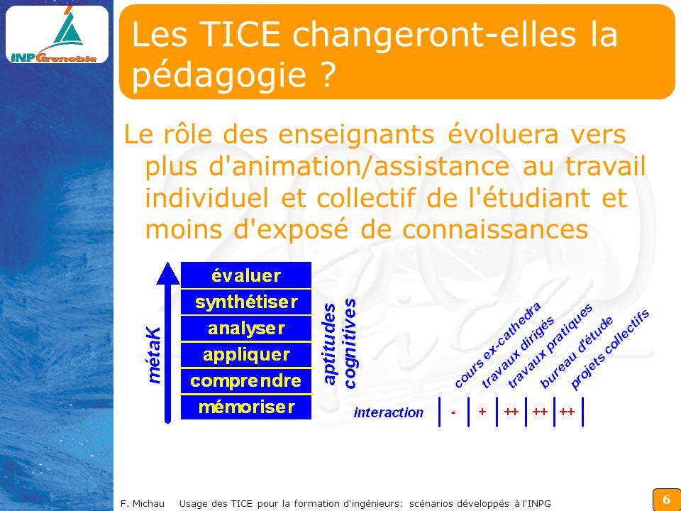 6 F. Michau Usage des TICE pour la formation d'ingénieurs: scénarios développés à l'INPG Les TICE changeront-elles la pédagogie ? Le rôle des enseigna