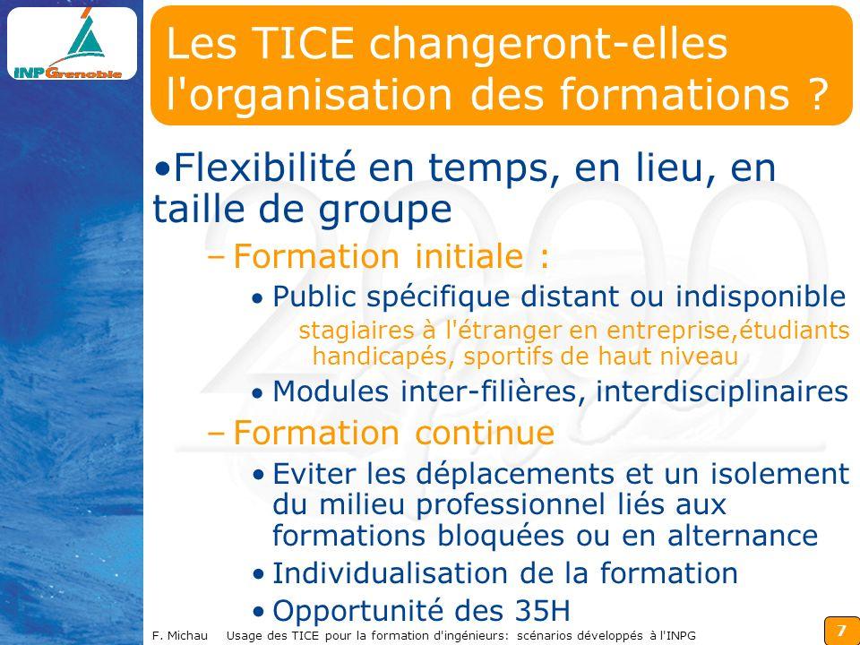 7 F. Michau Usage des TICE pour la formation d'ingénieurs: scénarios développés à l'INPG Les TICE changeront-elles l'organisation des formations ? Fle
