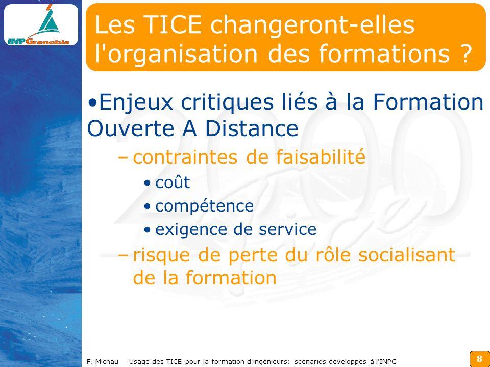 8 F. Michau Usage des TICE pour la formation d'ingénieurs: scénarios développés à l'INPG Les TICE changeront-elles l'organisation des formations ? Enj