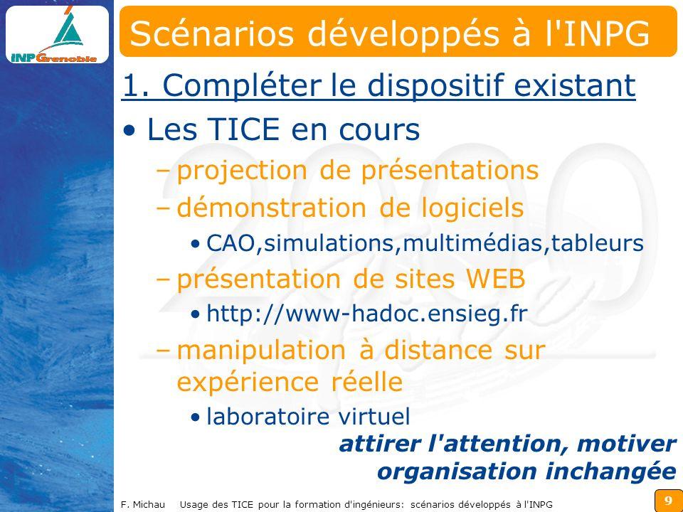 9 F. Michau Usage des TICE pour la formation d ingénieurs: scénarios développés à l INPG 1.