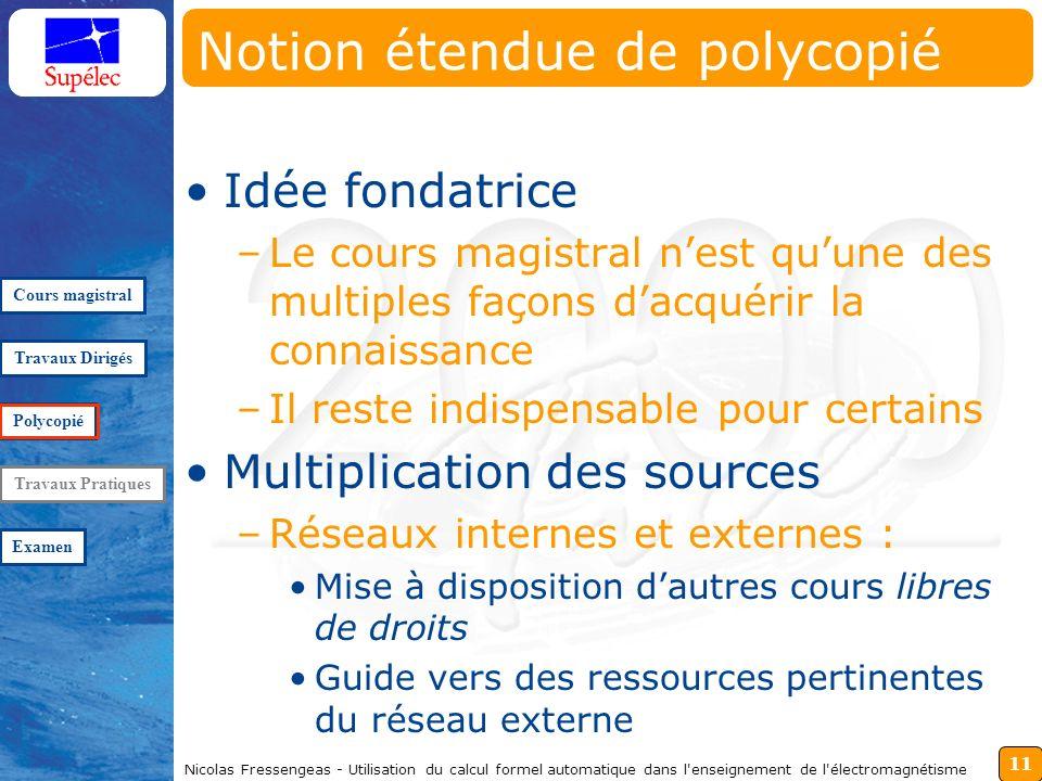11 Nicolas Fressengeas - Utilisation du calcul formel automatique dans l'enseignement de l'électromagnétisme Notion étendue de polycopié Idée fondatri