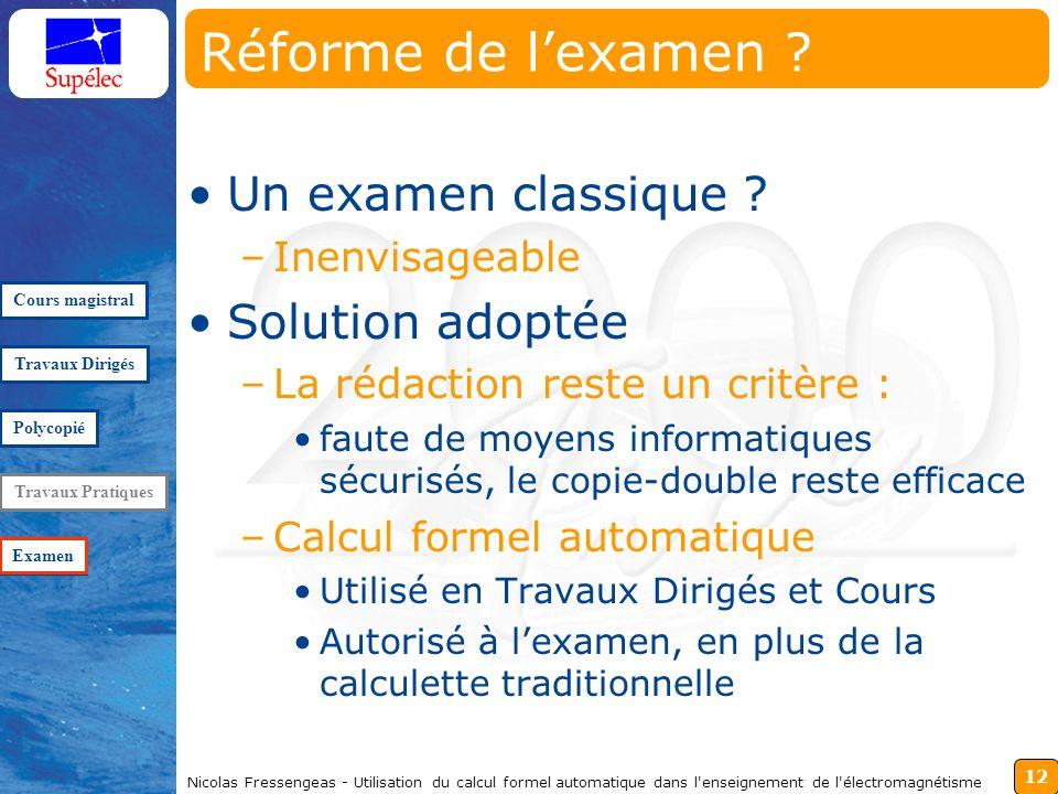 12 Nicolas Fressengeas - Utilisation du calcul formel automatique dans l enseignement de l électromagnétisme Réforme de lexamen .