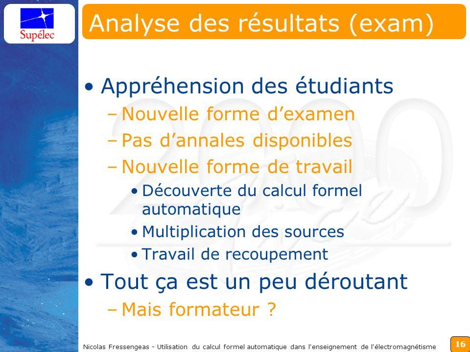 16 Nicolas Fressengeas - Utilisation du calcul formel automatique dans l'enseignement de l'électromagnétisme Analyse des résultats (exam) Appréhension