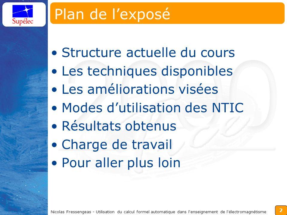 2 Nicolas Fressengeas - Utilisation du calcul formel automatique dans l'enseignement de l'électromagnétisme Plan de lexposé Structure actuelle du cour